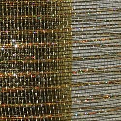 21in x 30ft Black Mesh Ribbon w/ Metallic Gold Stripes