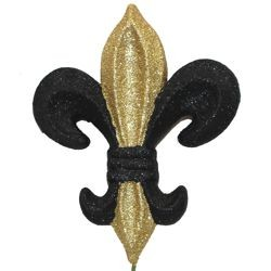 4in Long x 3in Wide Black and Gold Fleur De Lis Pick