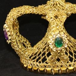 8in Wide x 8 1/2in Tall Gold Metallic Glittered Crown w/ Purple And Green Rhinestones