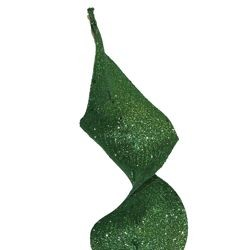 32in Tall Green Glittered Curly Decorative Spray