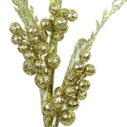 Gold Glittered Berries Decorative Stem
