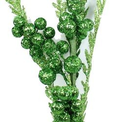 50in Tall Green Glittered Berries Decorative Stem