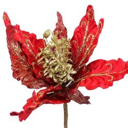 26in Tall Red Velvet Glittered Poinsettia Floral Pick