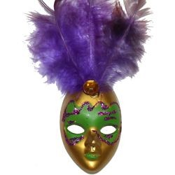 4in Tall x 1 1/4in Wide Purple/ Green/ Gold Plastic Doll Face Magnet w/Purple Feathers