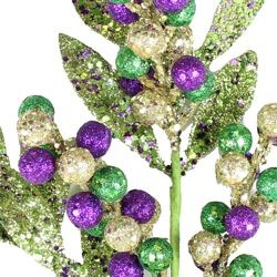 Mardi Gras Glittered Berries Decorative Stem