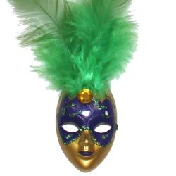 4in Tall x 1 1/4in Wide Purple/ Green/ Gold Plastic Doll Face Pin w/Green Feathers