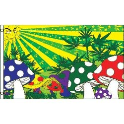3ft x 5ft Marijuana/ Mushrooms Polyester Flag