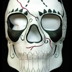 Day of the Dead Full Face Skull Masquerade Mask White with Red and Black Designs
