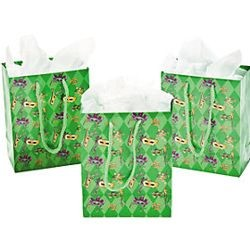4 1/2in x 2 3/8in x 5 1/2in Small Masquerade Mardi Gras Gift Bags