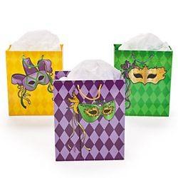 7 1/4in x 3 1/2in x 8 3/4in Medium Masquerade Mardi Gras Gift Bags