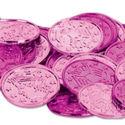 1 1/5in Assorted Cerise/ Pink Plastic Coins