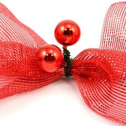 6in Green Tinsel Ties w/ 50mm Red Balls