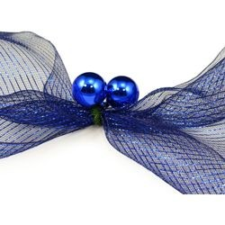 6in Green Tinsel Ties w/ 50mm Blue Balls