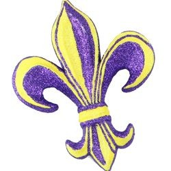 6in Long x 4in Wide Purple/ Yellow Fleur De Lis Pick