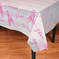 54in x 72in Breast Cancer Awareness Plastic Tablecloth