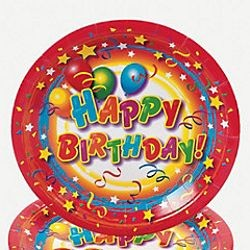7in Happy Birthday Paper Dessert Plates