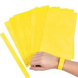 Yellow Self-Adhesive Wrist Paper Tickets
