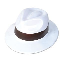 21in circ. Plastic White Gangster Hat w/ Black Band