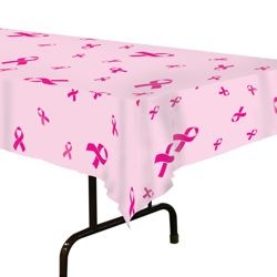 54in x 108in Pink Ribbon Plastic Table Cover