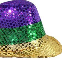 11in Long x 9in Wide Mardi Gras Color Sequin Fedora Hat