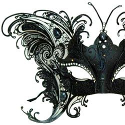 Black Butterfly Venetian Masquerade Mask with Metal Laser Cut And Crystals on Eyes