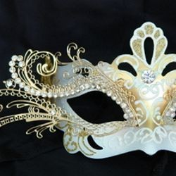 White and Gold Venetian Masquerade Mask with Gold Metal Laser Cut and Crystals