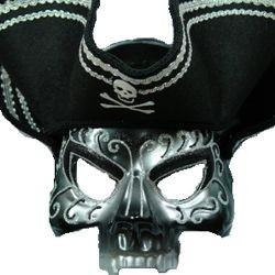 Black Pirate Skull Masquerade Half Mask With Silver Design