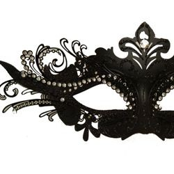 Black Venetian Masquerade Mask with Black Metal Laser Cut and Crystals