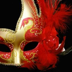 Red and Gold Venetian Masquerade Mask with Red Ostrich Plumes and a Flower