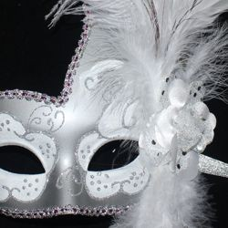 Venetian Masquerade Mask White & Silver with White Ostrich plumes and a Flower