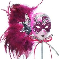 12in Carnival Feathered Hot Pink Mask Decoration/ Doll on Stick