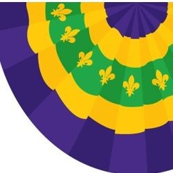 5ft x 3ft Mardi Gras Bunting Polyester Flag With Fleur De Lis Design