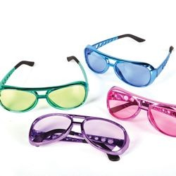 6in Assorted Colors Metallic Rock Star Tinted Glasses