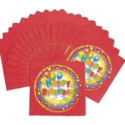 6 1/2in x 6 1/2in Paper Happy Birthday Luncheon Napkins