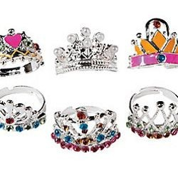 1/2in - 3/4in Metal Adjustable Princess Crown Rings