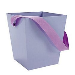 5in x 4 1/2in x 4 1/2in Lilac Cardboard Bucket W/ 6in Ribbon Handle
