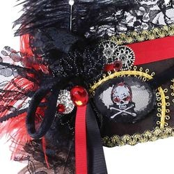 Venetian Masquerade Mask With Pirate Eye Patch Design With Black Ostrich Feathers And Rhinestones {g