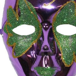 Metallic Purple Plastic Drama Masquerade Mask With Green and Gold Glittered Scrollwork