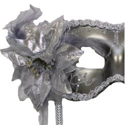 Silver Plastic Sequin Masquerade Mask on a Stick with Flower On The Side