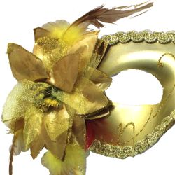 Gold Plastic Sequin Masquerade Mask on a Stick with a Flower On The Side
