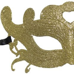 Glittered Plastic Gold Masquerade Face Mask