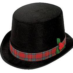 Christmas Top Hat.Polyester Christmas Caroler Top Hat