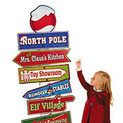 68in Tall x 23in Wide Cardboard North Pole Directional Sign