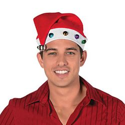 15in Tall x 10in Wide Multicolored Jingle Bell Santa Hat