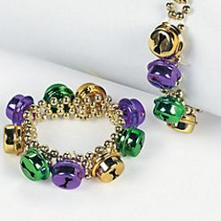 Plastic Mardi Gras Beaded Bracelets w/ Jingle Bells