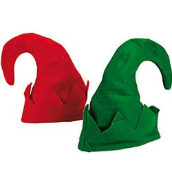 11in Tall x 9in Wide Felt Just Jolly Elf Hats