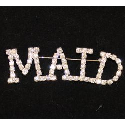 2.5in Long x 1in Tall Rhinestone Maid Pin
