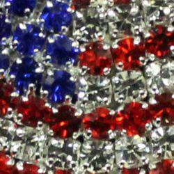 1 3/8in Long x 1 3/8in Tall Rhinestone US Flag Pin