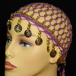 Purple Head Piece w/ Metallic Gold Coins/ Beaded