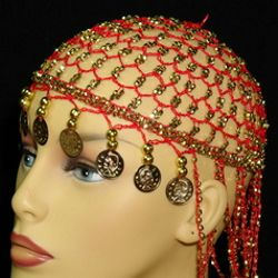 Red Head Piece w/ Metallic Gold Coins/ Beaded